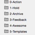 0-Action, 1-Hold, 2-Archive, 3-Feedback, 4-Awesome, 5-Templates